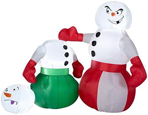 Gemmy 4' Airblown Snowmen Boxing Scene Christmas -
