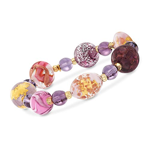 (Ross-Simons Italian Multicolored Murano Glass Bead Stretch Bracelet in 18kt Yellow Gold Over Sterling)