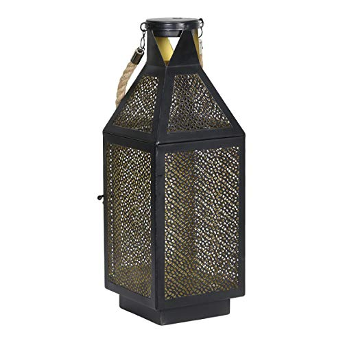 Black Filigree Lamp - Exhart Black Metal Filigree LED Lantern - Elegant Metal Lantern with 20 LED Lights on Battery Timer - Rustic Hanging Lantern - Best as Indoor & Outdoor Home Decor, 16 Inches