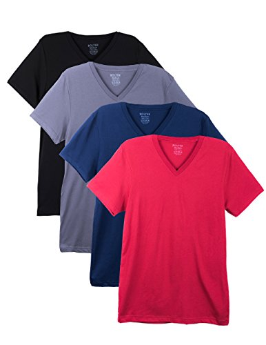 Bolter 4 Pack Men's Everyday Cotton Blend V Neck Short Sleeve T Shirt (Large, Navy/C.Red/Asph/Blk)