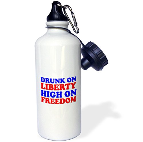 3dRose Tory Anne Collections Quotes - DRUNK ON LIBERTY HIGH ON FREEDOM - 21 oz Sports Water Bottle (wb_245872_1) by 3dRose