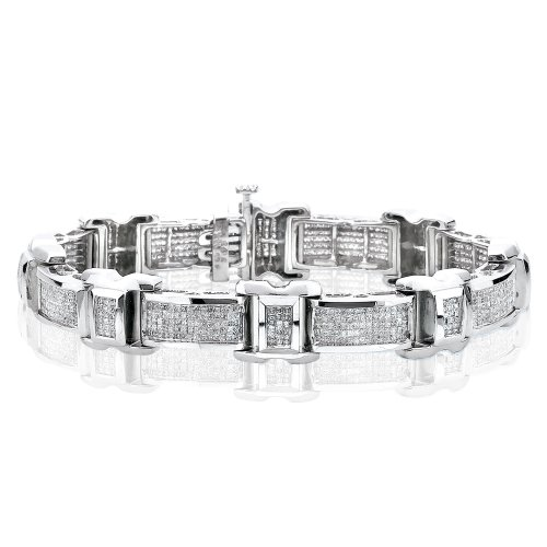 KATARINA Princess Cut Diamond Invisible Set Bracelet in 14K White Gold (4 1/2 cttw) - 8