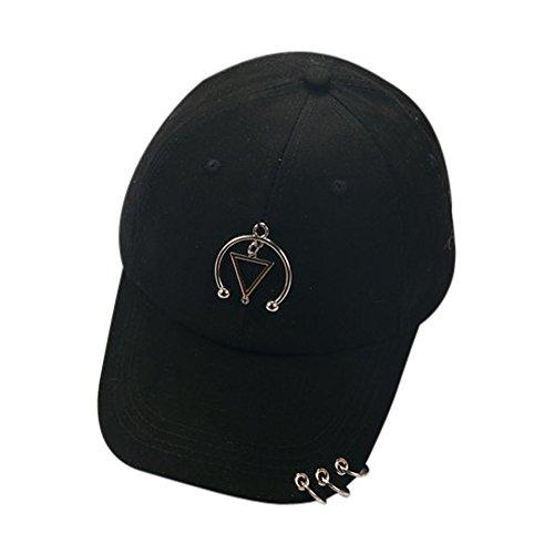 Tloowy Unisex Hat Ring Piercing Snapback Hat Hip Hop Flat Hats Baseball Cap for Women Men Couple (Black)