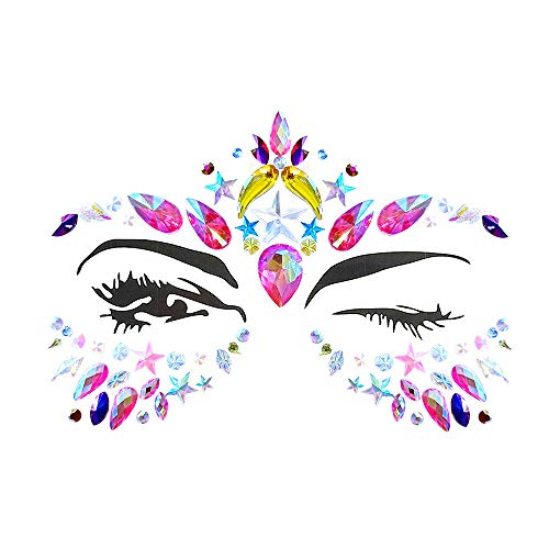 Women Mermaid Face Gems Glitter Rhinestone Rave Festival Face Jewels Bindi Crystals Eyes Face Body Temporary Tattoos for Music Festivals Bohemian Self-adhesive Star Rhinestone Sticker -