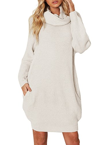 Simplee Women's Winter Warm Loose Turtleneck Oversized Pullover Sweater Dress, Beige, One Size