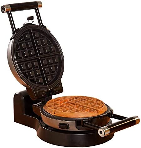 Health and Home Upgrade Automatic 360 Rotating Belgian Waffle Maker with Removable Plates, Black Silver, 2 Year Warranty, KS-308