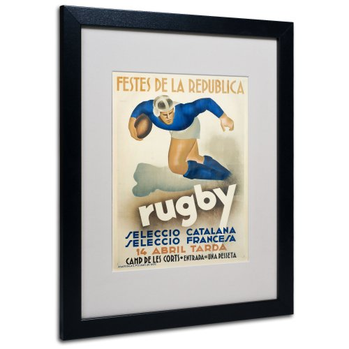 Rugby Artwork by Vintage Apple Collection, Black Frame, 16 by 20-Inch (Rugby Rocks)