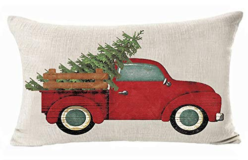 ASTIHN Merry Christmas Red Pickup Trucks Pine Christmas Tree Cotton Linen Throw Pillow Cover Cushion Case Home Office Decorative Rectangle 12 X 20 inches (L)