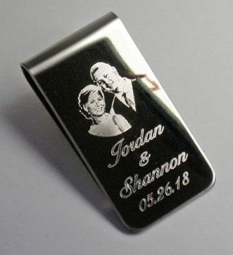 Money Clip Stainless Steel Keepsake Wedding Photo Engraved Bride and Groom (Money Keepsake Clip)