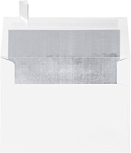 Envelopes Store A7 Foil Lined Invitation Envelopes with Peel and Press, 5.25-Inch-by-7.25-Inch, White with Silver LUX Lining 50-Pack (FLWH4880-04-50)