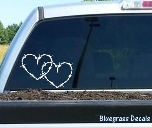 A1126 Barb Barbed Wire Hearts Decal Sticker for SUV Car Truck SUV Van Horse Barn Window Mirror Laptop Wall Tractor Art