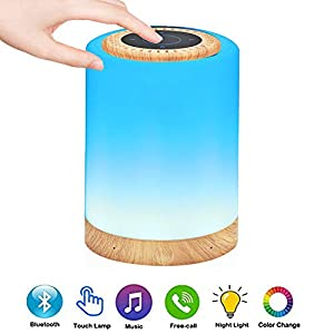 TAIPOW Lampe de Chevet LED Touch Portable avec Enceinte Bluetooth, Veilleuse Multicolore Disco Light Lecture de MP3 Support TF AUX-IN USB Rechargeable, Cadeau pour Adulte Ados Enfants Bébé 2