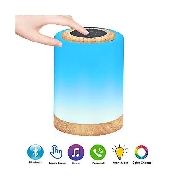 TAIPOW Lampe de Chevet LED Touch Portable avec Enceinte Bluetooth, Veilleuse Multicolore Disco Light Lecture de MP3 Support TF AUX-IN USB Rechargeable, Cadeau pour Adulte Ados Enfants Bébé 1