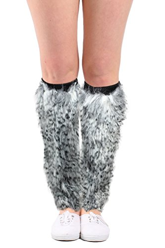 Women's Faux Fur Leg Warmers Furry Animal Print Boot Cuffs Cosplay Accessories...