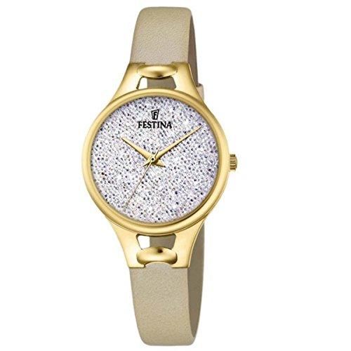 Women's Watch Festina - F20335/1 - White Crystals from Swarovski - Beige Leather Band by Festina