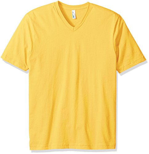 American Apparel Men's Organic Fine Jersey Short Sleeve Classic V-Neck T-Shirt, Pollen, Large
