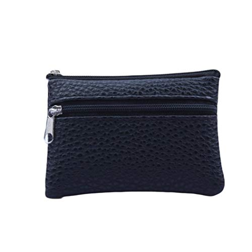 Thenlian Women Men Leather Wallet Multi Functional zipper Leather Coin Purse Card Wallet (Black)