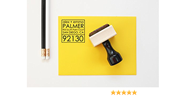 Self Inking Stamp and Wood Handle Mount A852 Custom Rubber Address Stamp First Home Housewarming Gift