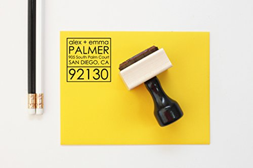 Modern Address Stamp Personalized Rubber Address Stamp Housewarming Gift Custom Return Address Labels Modern Wedding Invitation Stamp by When it Rains Paper Co.