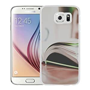 NEW Unique Custom Designed Samsung Galaxy S6 Phone Case With Open Book On Table_White Phone Case wangjiang maoyi