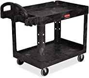 Rubbermaid Commercial Products 2-Shelf Utility/Service Cart, Medium, Lipped Shelves, Ergonomic Handle, 500 Lbs