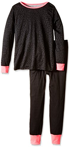 Fruit of the Loom Big Girls' Active Performance Thermal Underwear Set, Leopard Print, 14/16