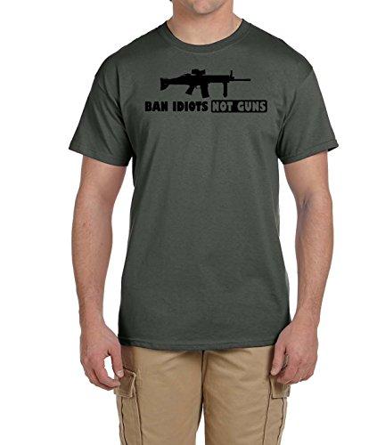 Ban Idiots Not Guns Gun T Shirt 2nd Amendment Right Arms Black Logo Military - Shop Ban Army