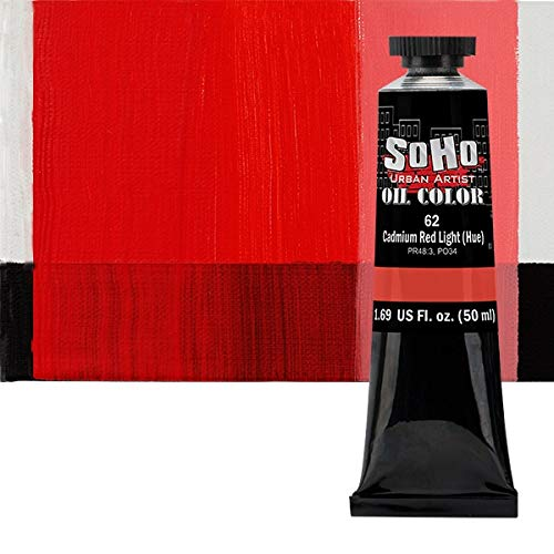 SoHo Urban Artist Oil Color Paint and High Pigmented Professional Oil Paint - 50 ml Tube - Cadmium Red Light Hue