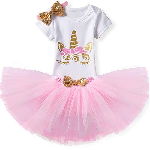 (TTYAOVO Baby Girl Birthday 3pcs Unicorn Outfits with Headband & Romper & Skirts Size 4-9 Months Pink)
