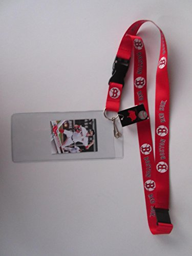 BOSTON RED SOX RED LANYARD WITH DETACHABLE CLIP AND TICKET HOLDER WITH COLLECTIBLE PLAYER CARD (Tickets Sox Red)