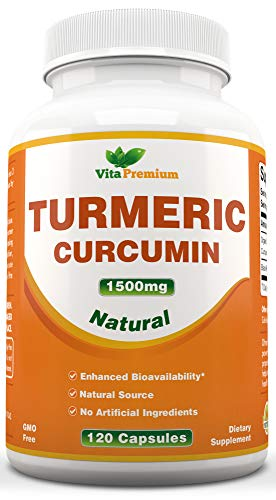 Natural Turmeric Curcumin 1500mg with Black Pepper Extract - Maximum Potency - All Natural Anti-Inflammatory Joint Pain Relief - 120 Capsules with 95% Standardized Curcuminoids