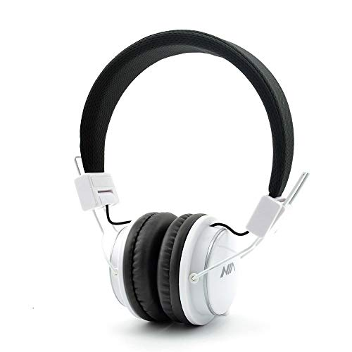Wireless Headphones,NIA Q8 Multifunctional Foldable Bluetooth Headphones with Microphone, Micro SD Card Player, Built-in FM Radio-White