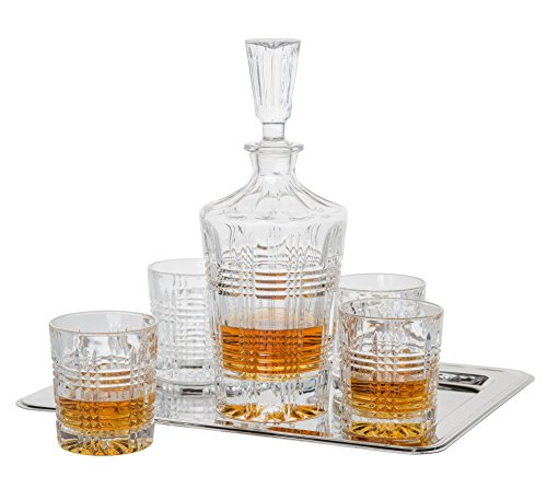 Fitz And Floyd 6-piece Bridgeport Crystal Whiskey Barware Set With Decanter And 4 Double Old Fashioned Glasses And Rectangular Nickel-plated Tray (Giftware Floyd)