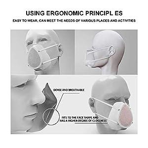 Adult Face Respirator Reusable Man Woman Electric Respirator with Replaceable 6pcs Filter (Color: Medium White, Tamaño: Medium)