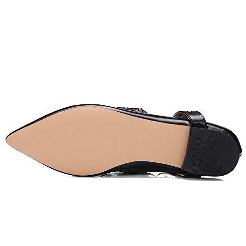Neuf Sept Femmes En Cuir Véritable Bout Pointu Strappy Robe À La Main Appartements Chaussures Noires
