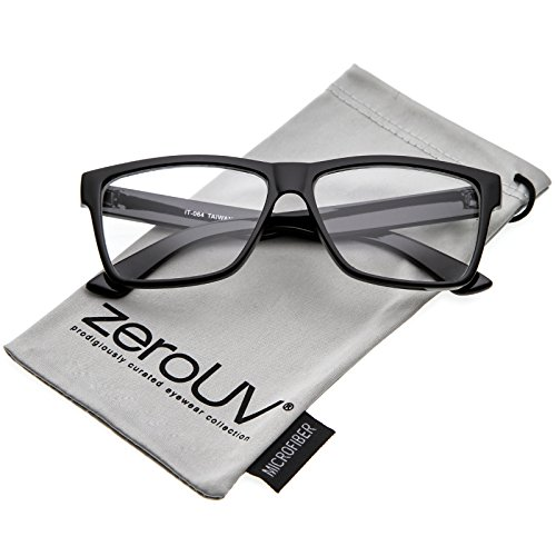 zeroUV - Classic Horn Rimmed Wide Arms Clear Lens Rectangle Eyeglasses 57mm (Shiny Black / - Wide Frame Glasses