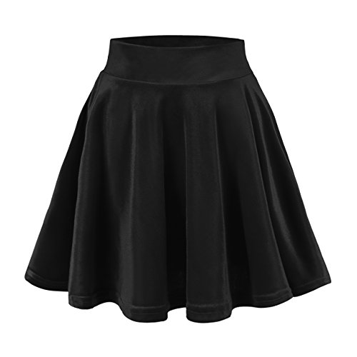 Urban CoCo Women's Vintage Velvet Stretchy Mini Flared Skater Skirt (L, Black)