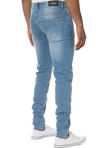 KRUZE Herren Designer Freizeit Markiert Jeans Dehnbar Super Enge Jeans Hose - Herren, Hell Steinwäsche, 38W x 34L