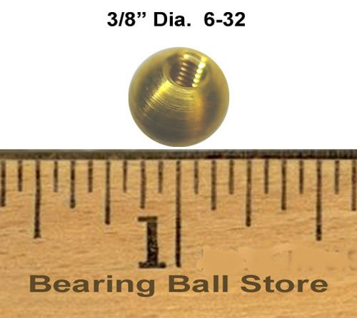 230 3/8'' threaded 6-32 brass balls drilled tapped lamp finials by Bearing Ball Store