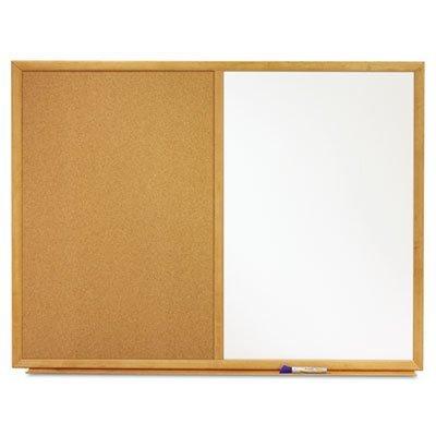 Combo Bulletin Board, Dry-Erase Melamine/Cork, 36 x 24, White, Oak Frame, Sold as 1 Each