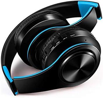 Haoshuai hoofdtelefoon, opvouwbaar, draadloos, Bluetooth, muziekkaart, draadloze beweging, universele hoofdtelefoon, blauw en zwart