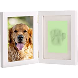 "White Personalized Dog or Cat Pet Memorial Frame Paw Prints Desk Photo Frame Modern Wall Hanging Double Picture Frames with Clay Imprint Kit Perfect Pets Keepsake - 5"" x 7"" or 4"" x 6"""