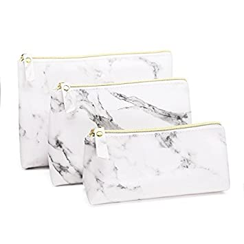 fcea50a03f8e41 Amazon.com : Joyful 3PCS White Marble Cosmetic Bag Set Women Casual Makeup  Pouch Toiletry Organizer Case Pouch Storage Makeup Brushes Bag : Beauty
