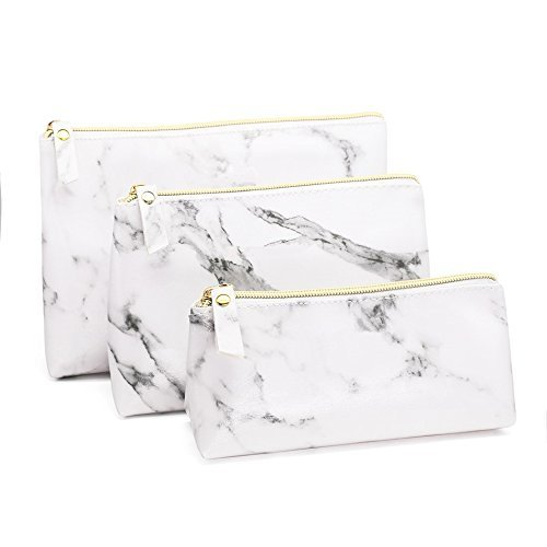 Joyful 3PCS White Marble Cosmetic Bag Set Women Casual Makeup Pouch Toiletry Organizer Case Pouch Storage Makeup Brushes Bag
