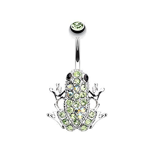 (Amazon Frog Multi-Gem 316L Surgical Steel Belly Button Ring (Light Green/Aurora Borealis))