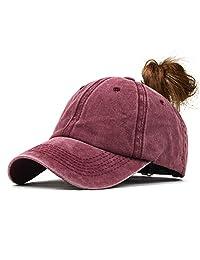 YHBAO Unisex Vintage Ponytail Baseball Hat Distressed Washed Baseball-Cap Twill Adjustable Hat