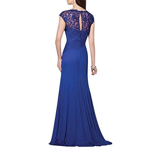 Festlichkleider Ausschnitt Spitze lang Charmant Damen Abendkleider V Fuchsia Standsamt Kleider Formalkleider Dunkel Elegant zwvIw