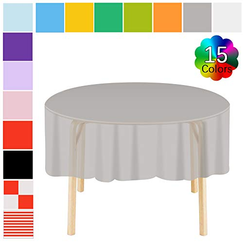 Plastic Tablecloth 6 Pack Gray Premium Disposable Round Table Covers Heavy Duty Doilies 83 in. x 83 in. for Indoor or Outdoor Parties Birthdays Weddings