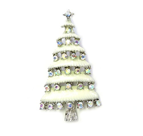 Faship Gorgeous Aurora Borealis Crystal Christmas Tree Pin Brooch