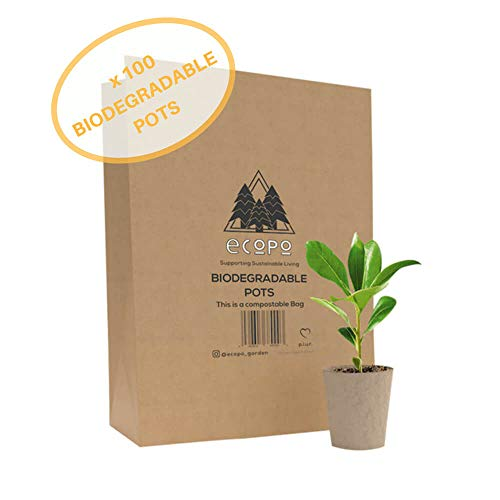 100% Biodegradable Organic Peat And Plastic Free Zero Waste Seedling Starter Pots by Ecopo | 100 x 3'' Eco Friendly Sustainably Sourced Garden And Household Eco Pot Starter Kit For Organic Plant Growth by Ecopo: Life With Less Plastic